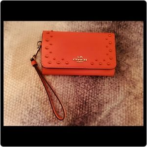 Coach Flap Phone Wallet with Studs